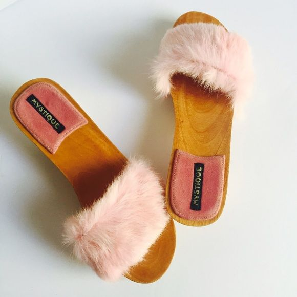 Fluffy Baby Pink Fur Mystique Clogs 8 Darling baby pink fur wooden clogs by Mystique. Size 8. Never worn, will ship in Mystique Net Dust Bag. Mystique Shoes Mules & Clogs