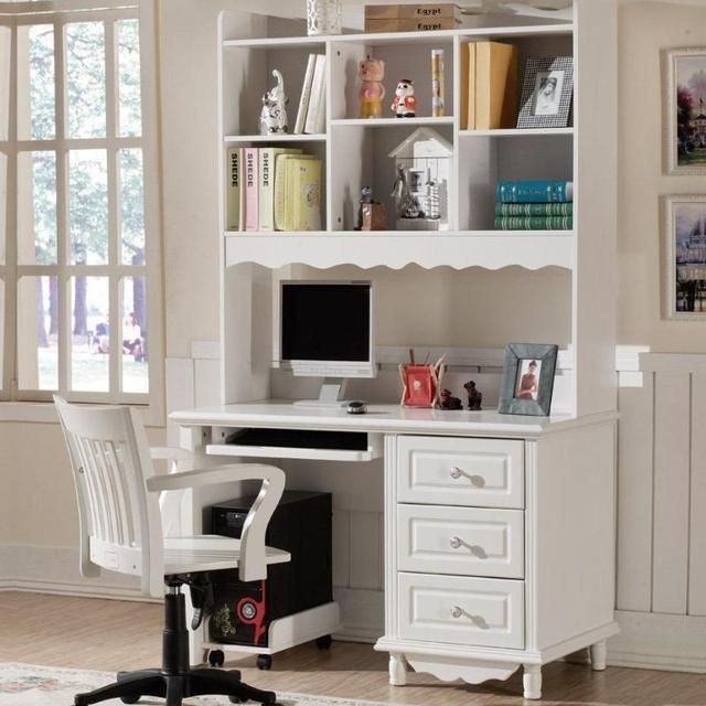 Country Style Multi Function Computer Desk And Bookcase Combination