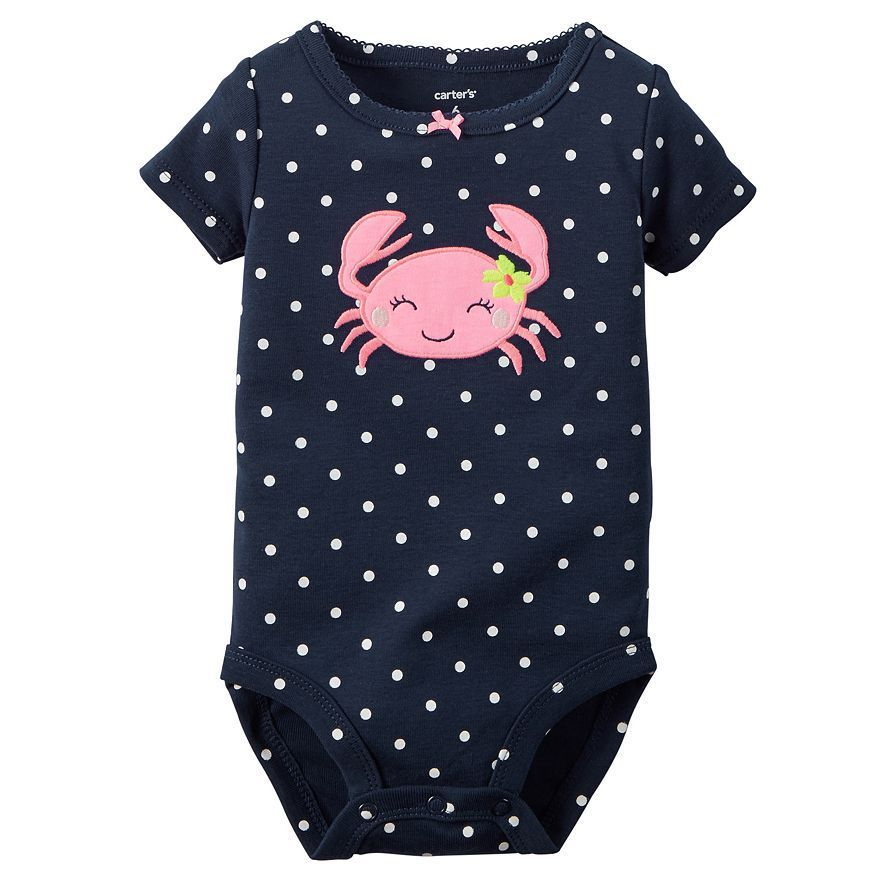 9a042ba2a95 Baby Girl Carter s Polka-Dot with Crab Embroidered Applique Bodysuit Onesie  - The Four