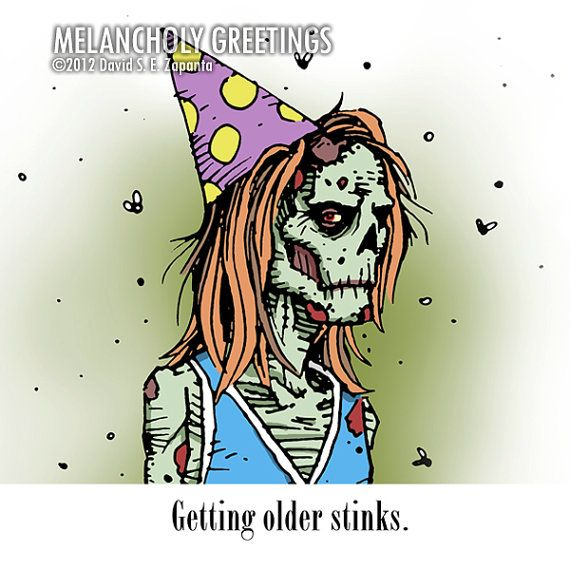 Melancholy Greetings Zombie Birthday Card By Melancholygreetings 3 95 Zombie Birthday Birthday Cards Birthday Card Pictures