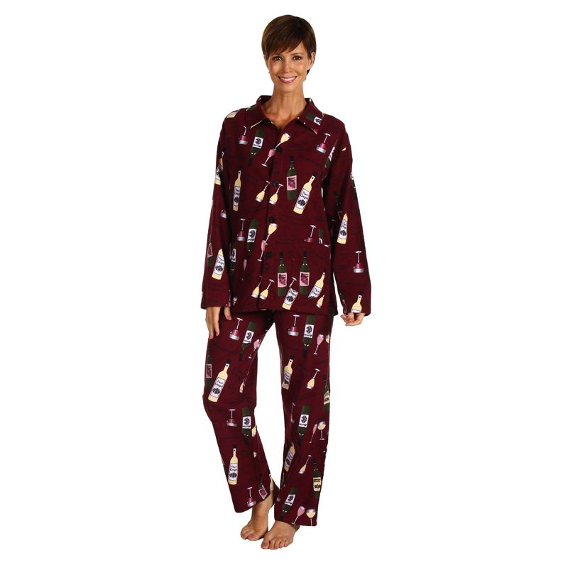 575b504d8d82 Women s Wine Bottle Print Flannel PJs