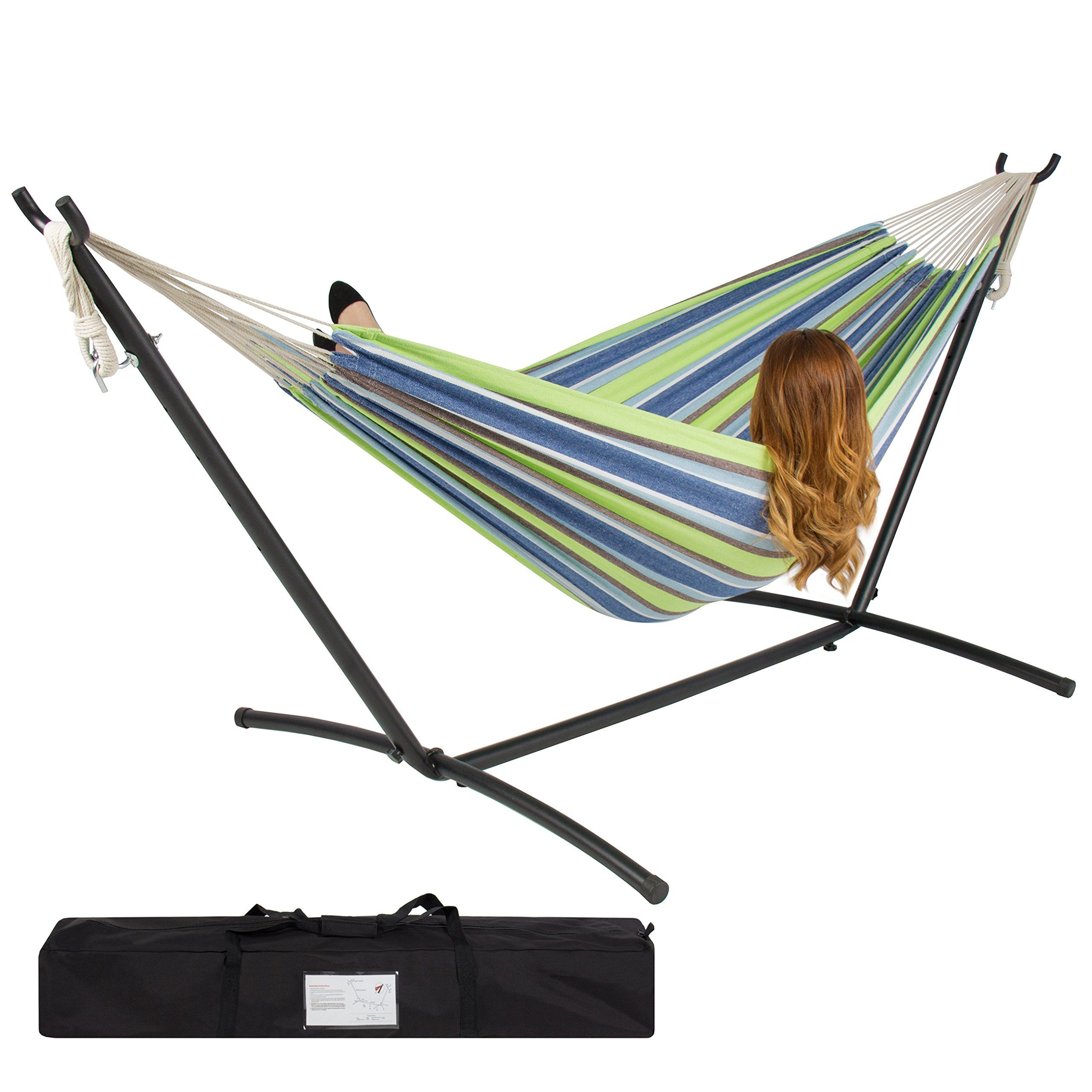 best choiceproducts double hammock with space saving steel stand includes portable carrying case best choiceproducts double hammock with space saving steel stand      rh   pinterest
