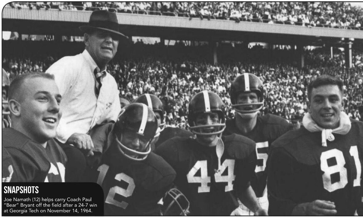 Bear Bryant. carried off the field by Joe Namath and team