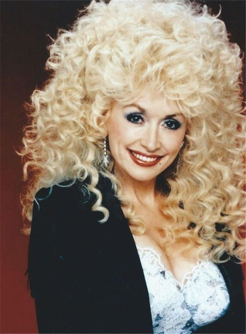 Dolly Parton Mid Length Afro Curly Synthetic Capless Hair Wigs 14 Inches Wig Hairstyles Big Hair Curly Hair Styles
