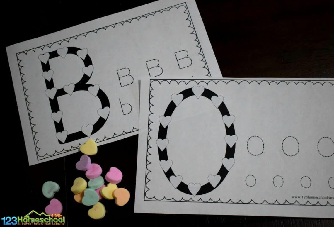 Conversation Heart Alphabet Worksheets