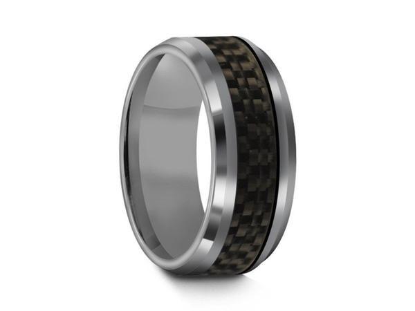 Tungsten Carbide Black Carbon Fiber Inlay Ring - Wedding Ring - Black Ring - Anniversary Ring - Carbon Fiber Inlay Tungsten Ring - Comfort Fit  8mm