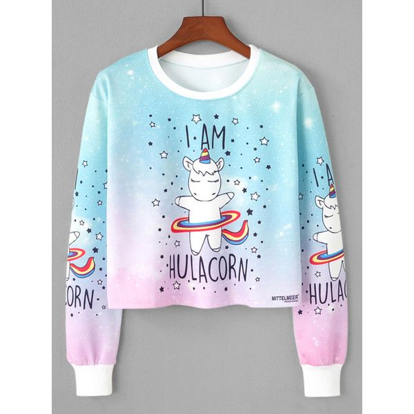 0b5ccf85622 SheIn(sheinside) Unicorn Print Sweatshirt (175 ZAR) ❤ liked on Polyvore  featuring tops, hoodies, sweatshirts, multicolor, blue sweatshirt, pullover  ...