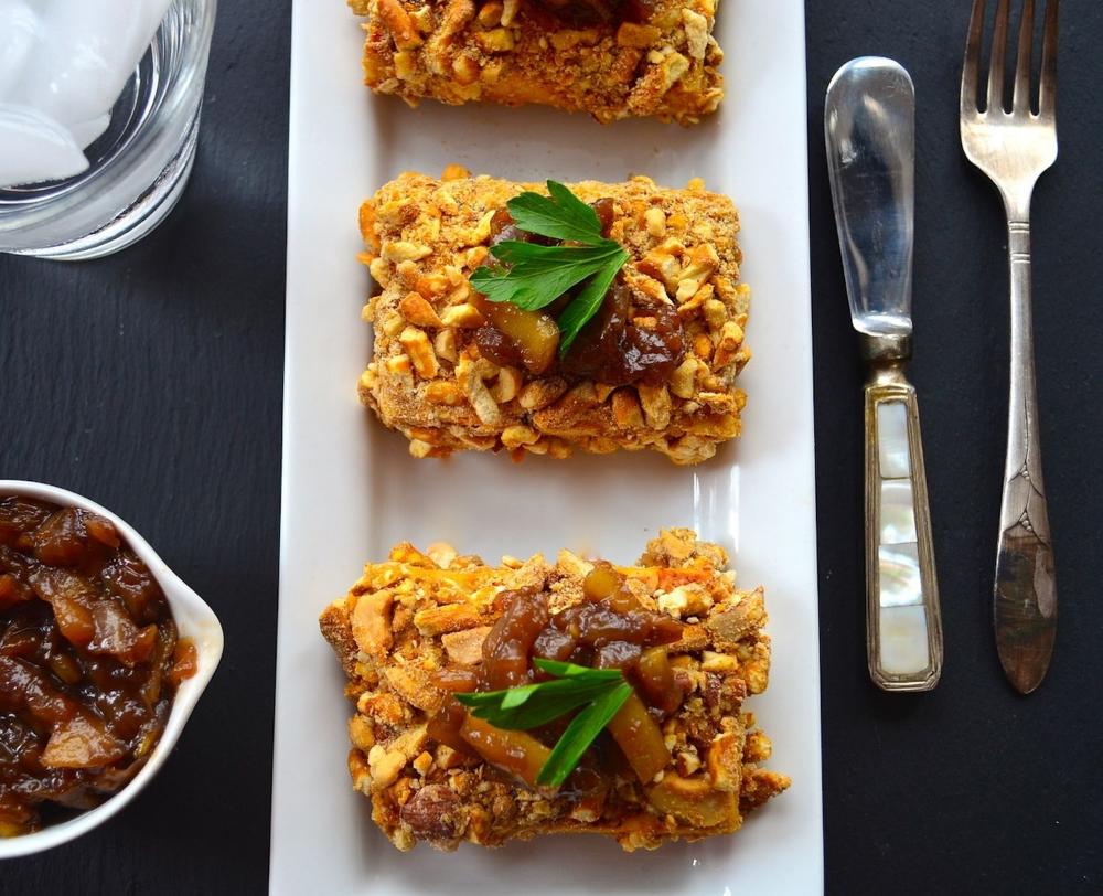 Cashew And Pretzel Crusted Tofu With Sweet Onion Relish Vegan Thanksgiving Recipe Vegan Thanksgiving Recipes Vegan Recipes Nutrition Recipes