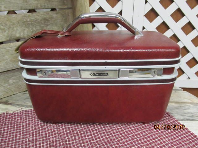 Vintage Samsonite Silhouette Train Case Make Up Cosmetic Suitcase Mirror & Key Luggage Tag Included Overnight Luggage Burgundy by EvenTheKitchenSinkOH on Etsy