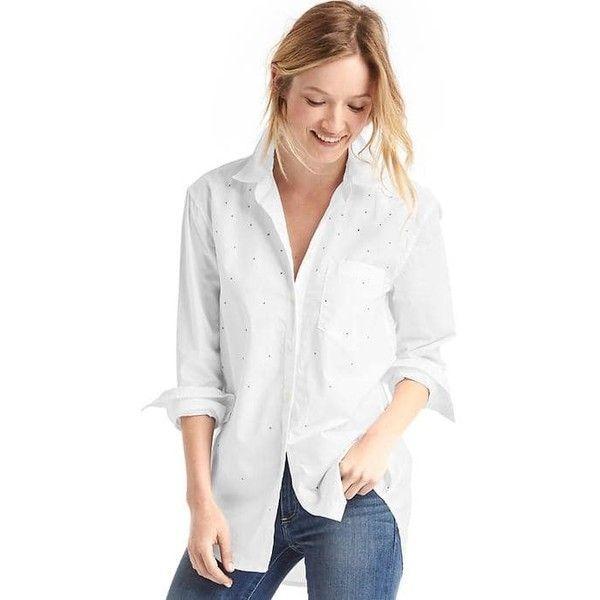 e5391e82ff16 Gap Women Studded Boyfriend Shirt ( 65) ❤ liked on Polyvore featuring tops