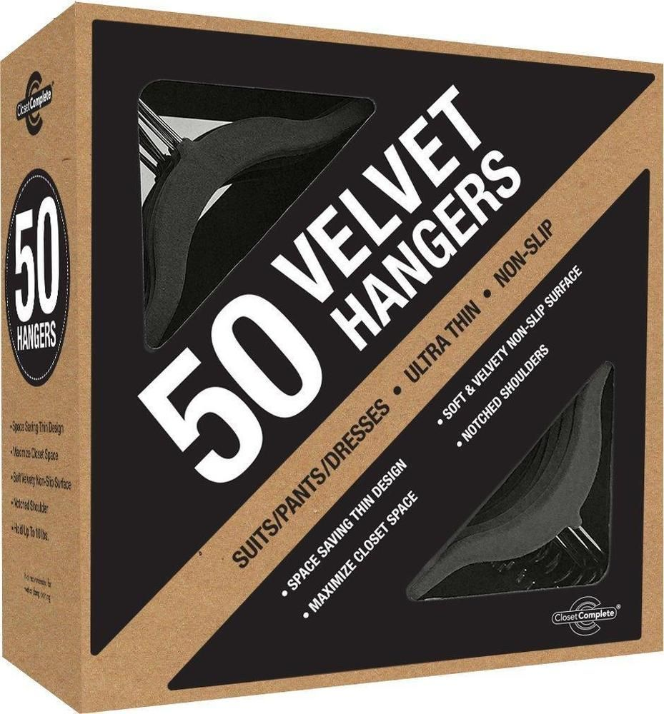Closet Hangers Velvet Black 50 Count Complete Suit Thin Space Saving Dress Shirt #ClosetComplete
