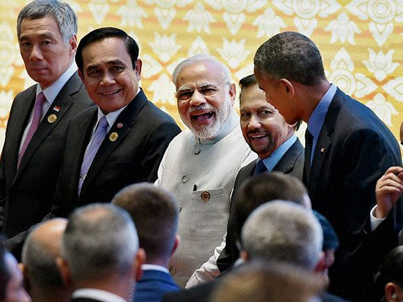 Prime Minister Narendra Modi, US President Barack Obama and other leaders during…