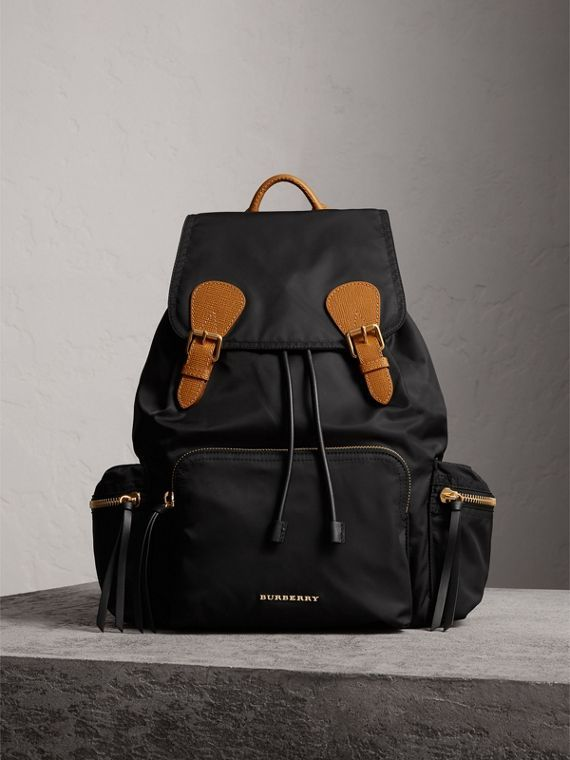 166df1990ccd The Medium Rucksack in Technical Nylon and Leather  black . The Medium  Rucksack in Technical Nylon and Leather  black  Burberry ...