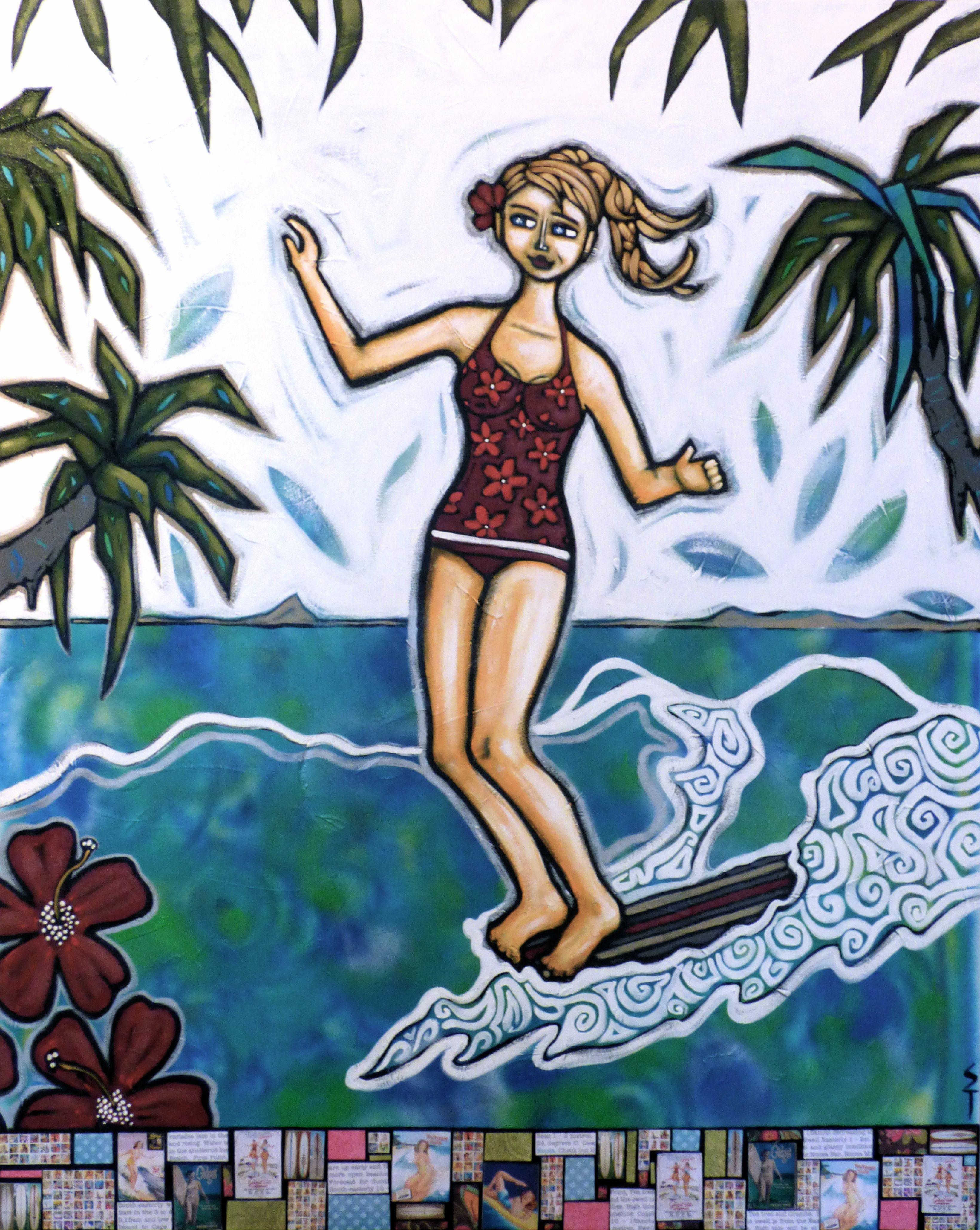 """Hanging ten Noosa"" original artwork on canvas 120 x 150cm by Noosa artist Sarah Thomas"