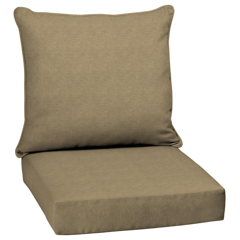 Selections By Arden Tan Hamilton Texture 2 Piece Deep Seating Outdoor Dining Chair Cushion Set