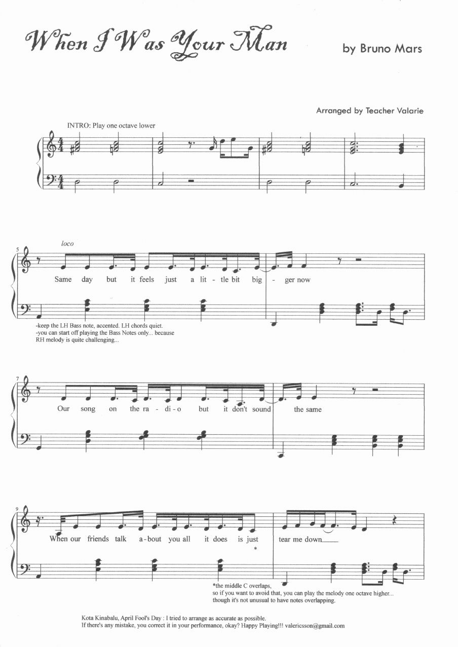 When I Was Your Man Bruno Mars Piano Music Sheet Score Scribd