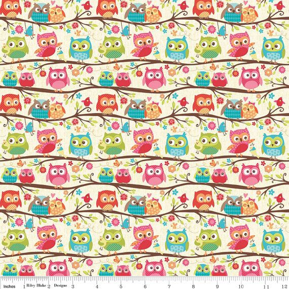 Happy Flappers Owl Cream by Kelly Panacci for Riley Blake Designs C4021 -100% Cotton Woven Quilt Fabric - by the yard fat quarter half