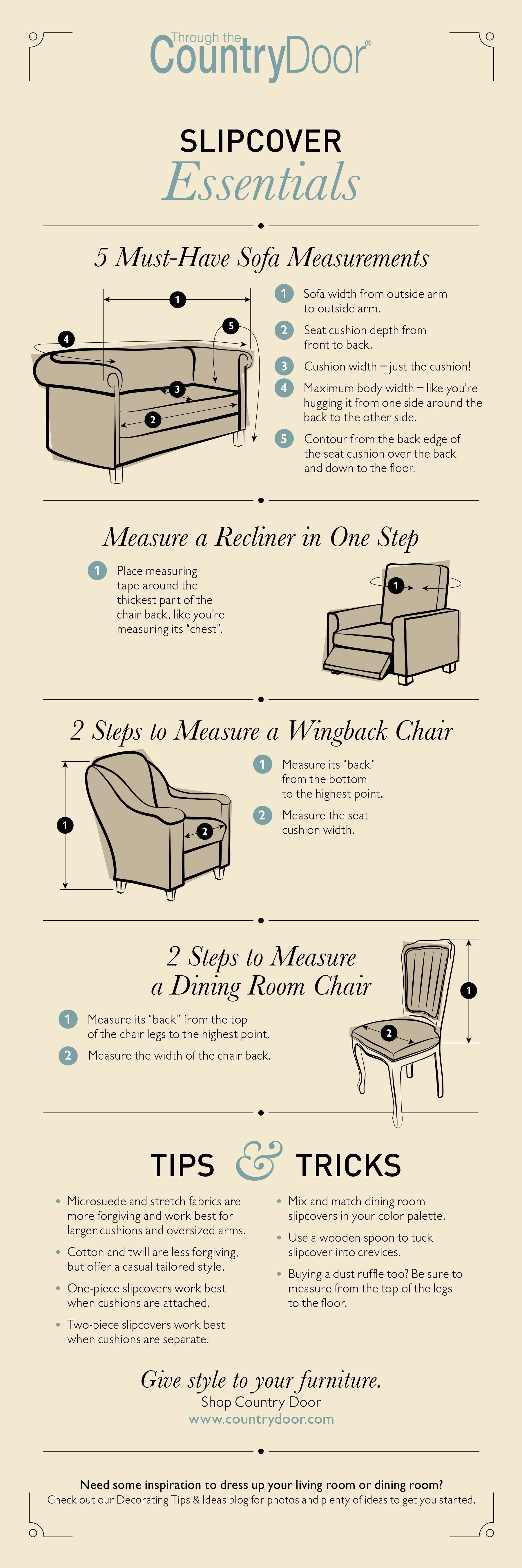 Slipcover Ing Guide With A Few Simple Measurements Slipcovers Give Your Old Furniture New Look Without The Expense Of Having To