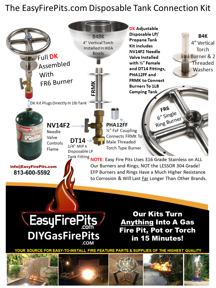This Diagram Highlights The Dk Disposable 1lb Propane Tank Connection Kit From Easyfirepits Com The Dk Consists Gas Firepit Diy Gas Fire Pit Propane Fire Pit