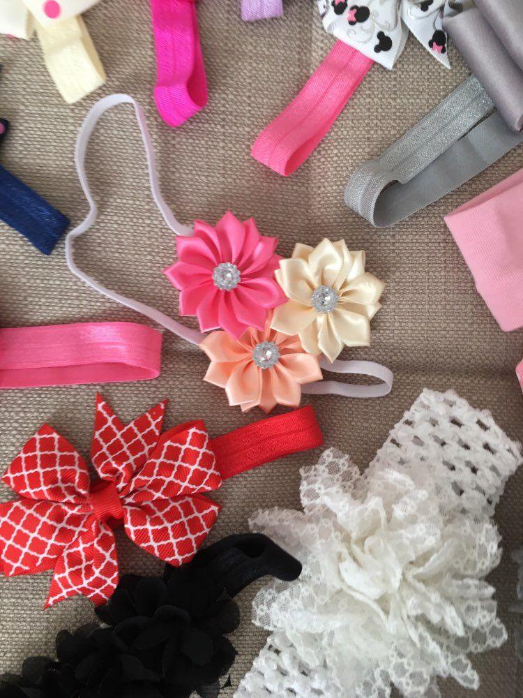 4pclot newborn baby girls satin ribbon 3 mini flower
