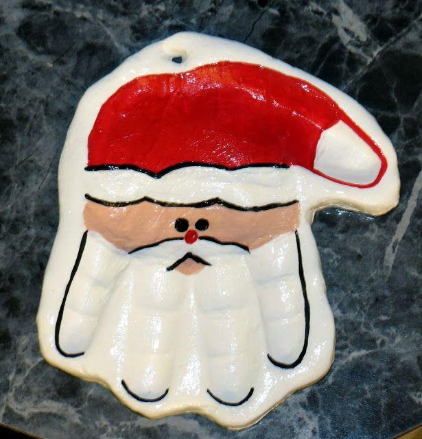 Santa hand print ornament using Crayola Model Magic.