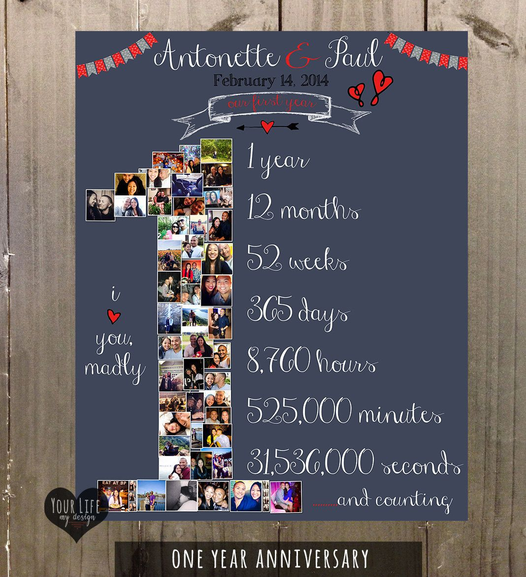 First anniversary gift valentines day photo collage for Gift ideas for 1 year wedding anniversary