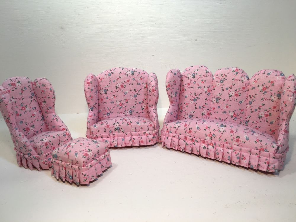Vintage Dollhouse Furniture Upholstered Pink Floral Couch Loveseat ...