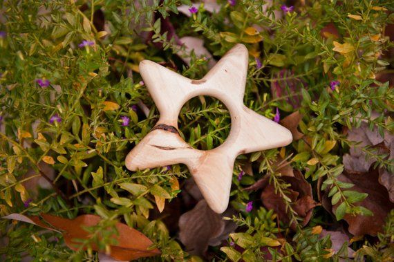 Little Star maple teether by BANDY with handmade beeswax and jojoba oil finish, salvaged wood #jojobaoil