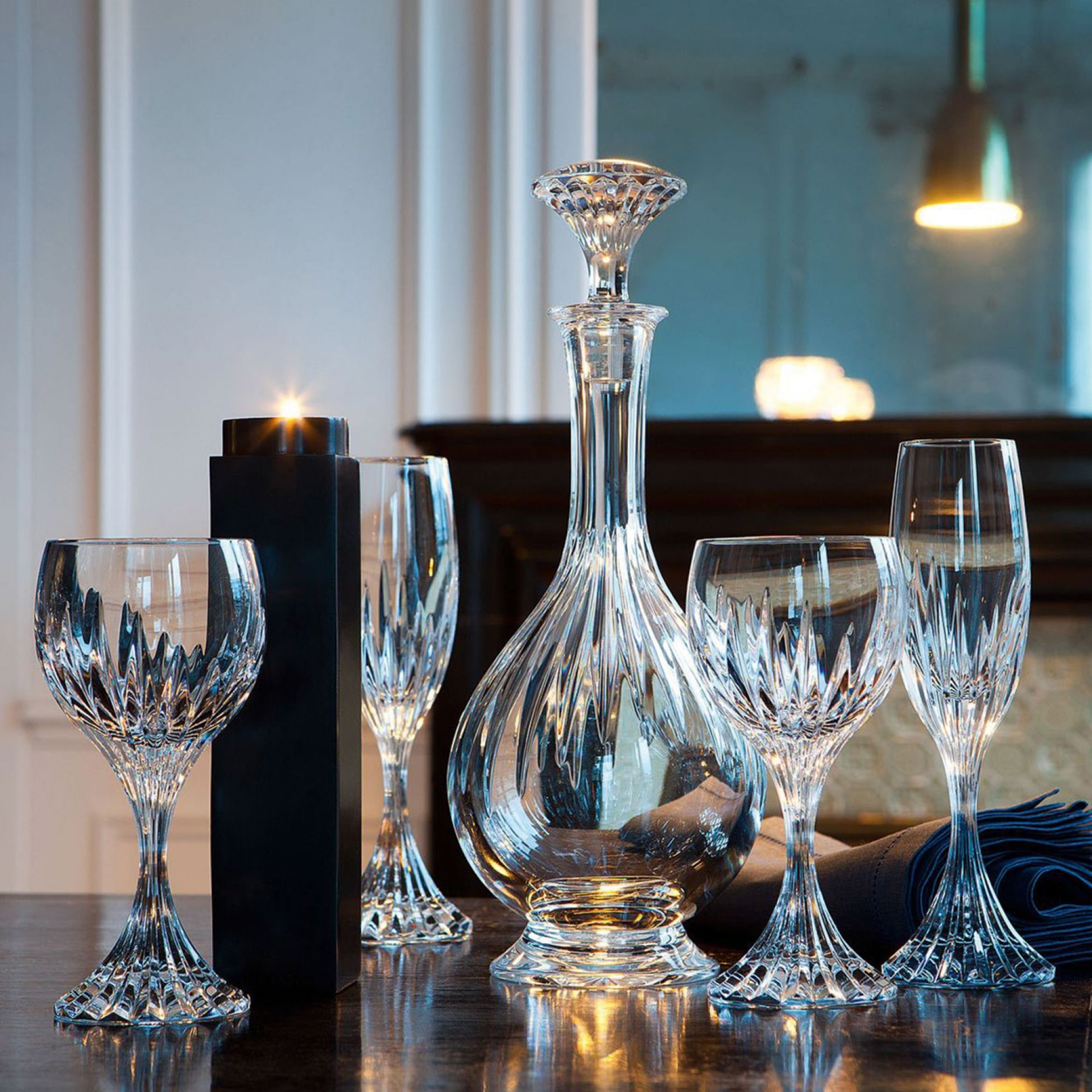 Baccarat - The intricate detailing gives the Massena glass the appearance of impressive heft, as if it were a modern-day chalice. Deep orgue bevel cuts are etched directly into the clear crystal, irradiating from the foot of the glass to the base of the wide bowl. All pieces from the Massena collection share a scrupulously textural quality. Shop now https://boulesse.com/en/product/6203/Baccarat/Massna-Glass