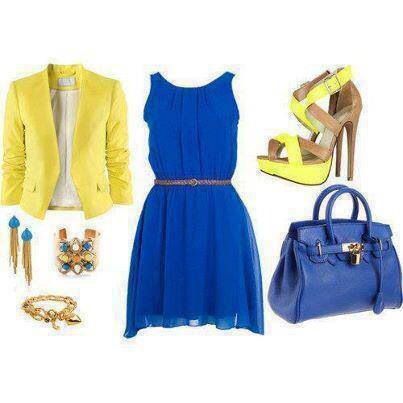Blazer Amarillo Y Vestido Azul Rey Vestidos Azules Vestidos Azul Eléctrico Ropa