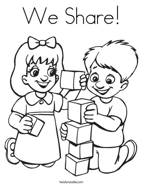 We Share Coloring Page Friendship Theme Preschool Coloring Pages Preschool Friendship