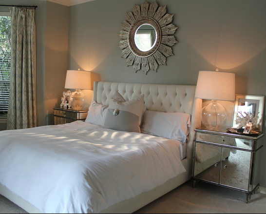 mirrored end tables bedroom design