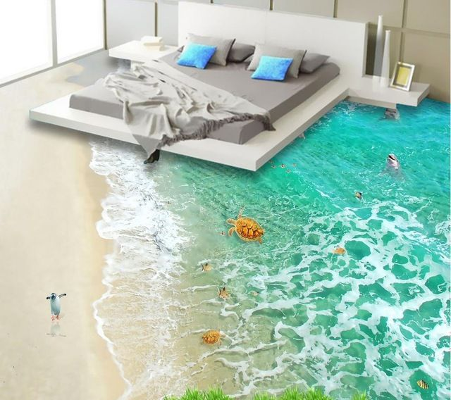 Custom Floor Wallpaper Stereoscopic 3D Flooring HD Clear Waters Beach Mural  PVC Wallpaper Self Adhesion Part 58