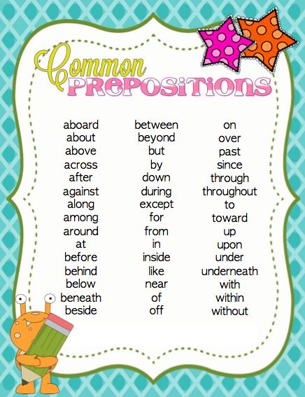 Printable Preposition List Prepositions, Teaching