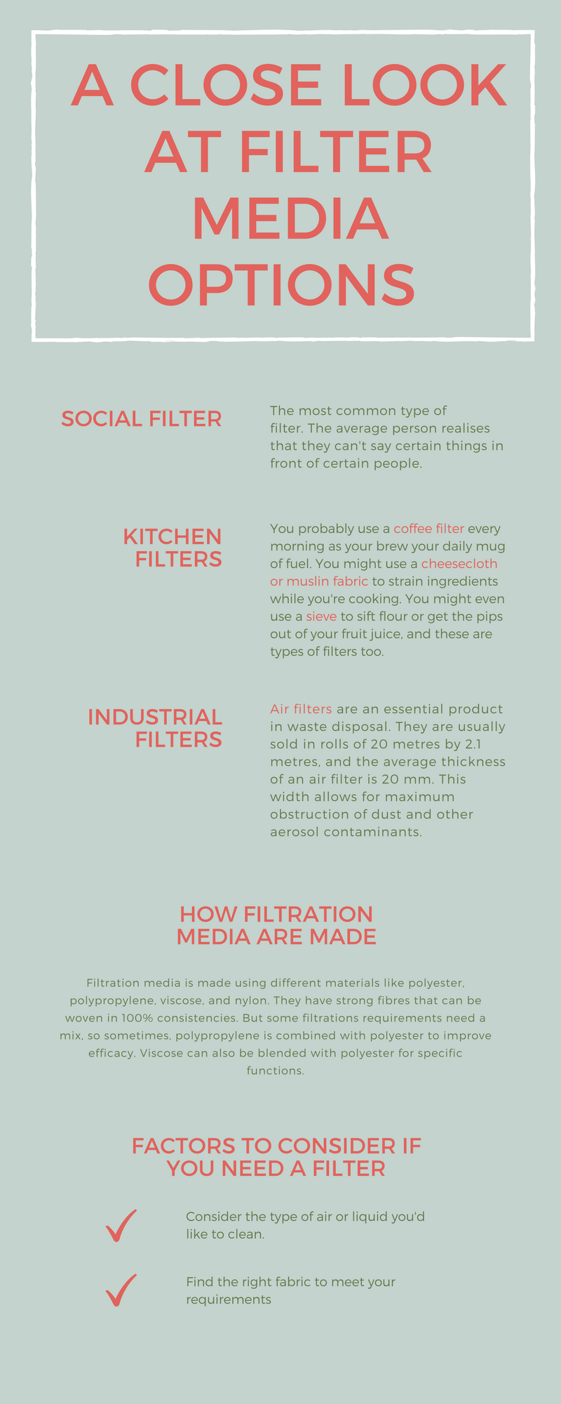 We use different types of filtration medias in our day to day ...