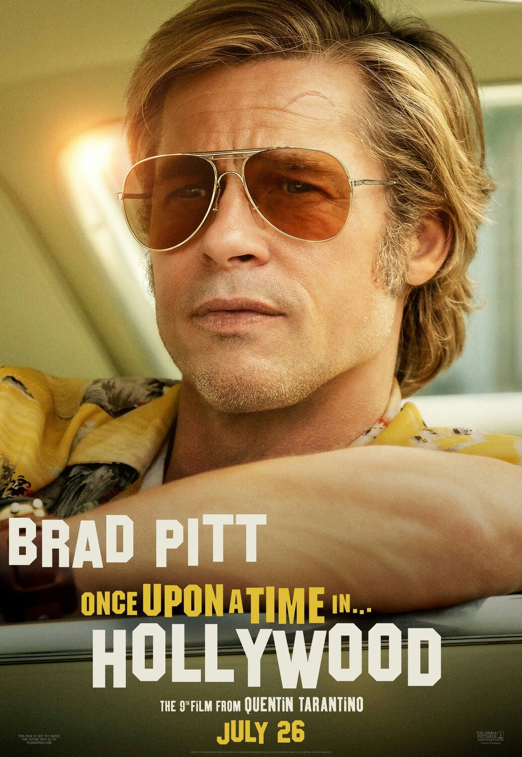 New character poster for ERA UMA VEZ EM HOLLYWOOD (ONCE UPON A TIME IN HOLLYWOOD) | Brad pitt, Cartazes de cinema, Hollywood