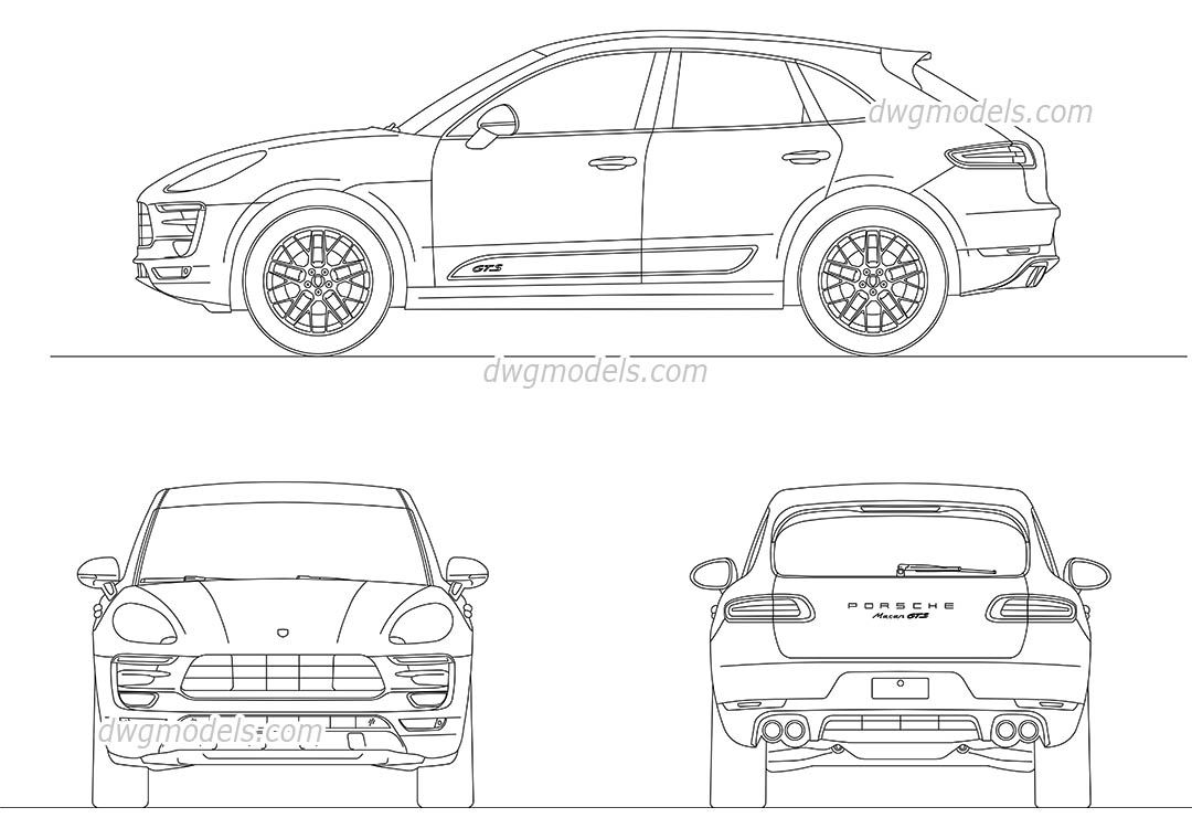 Porsche macan cad blocks free dwg file cars pinterest for Cad car plan