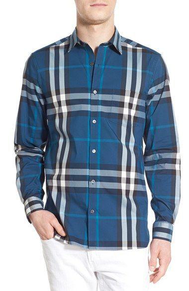 Burberry Brit 'Nelson' Trim Fit Check Sport Shirt