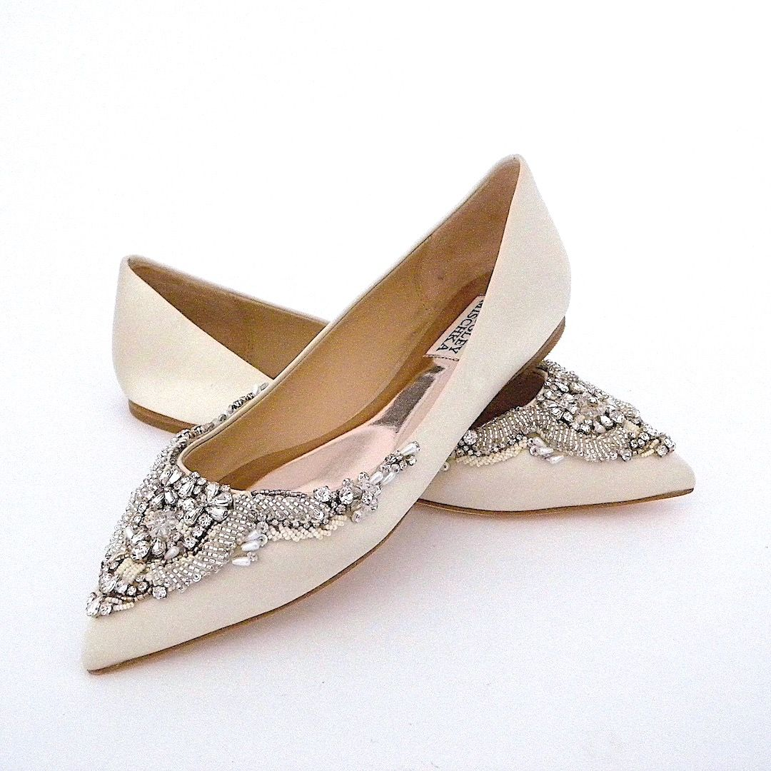 Badgley Mischka Flat Wedding Shoes. Malena, Ivory. Pointed