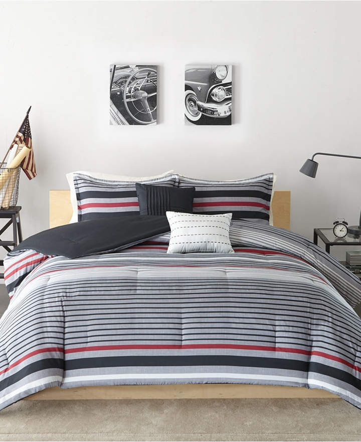 RED WHITE STRIPES PREPPY Queen COMFORTER SET NAVY BLUE PLAID 4pc Full