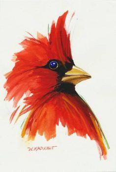 Saatchi Art Artist Wes Karchut Painting Red Cardinal