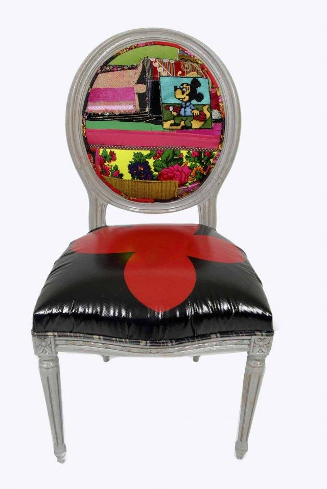 eclectic, boho, black and red patchwork chair