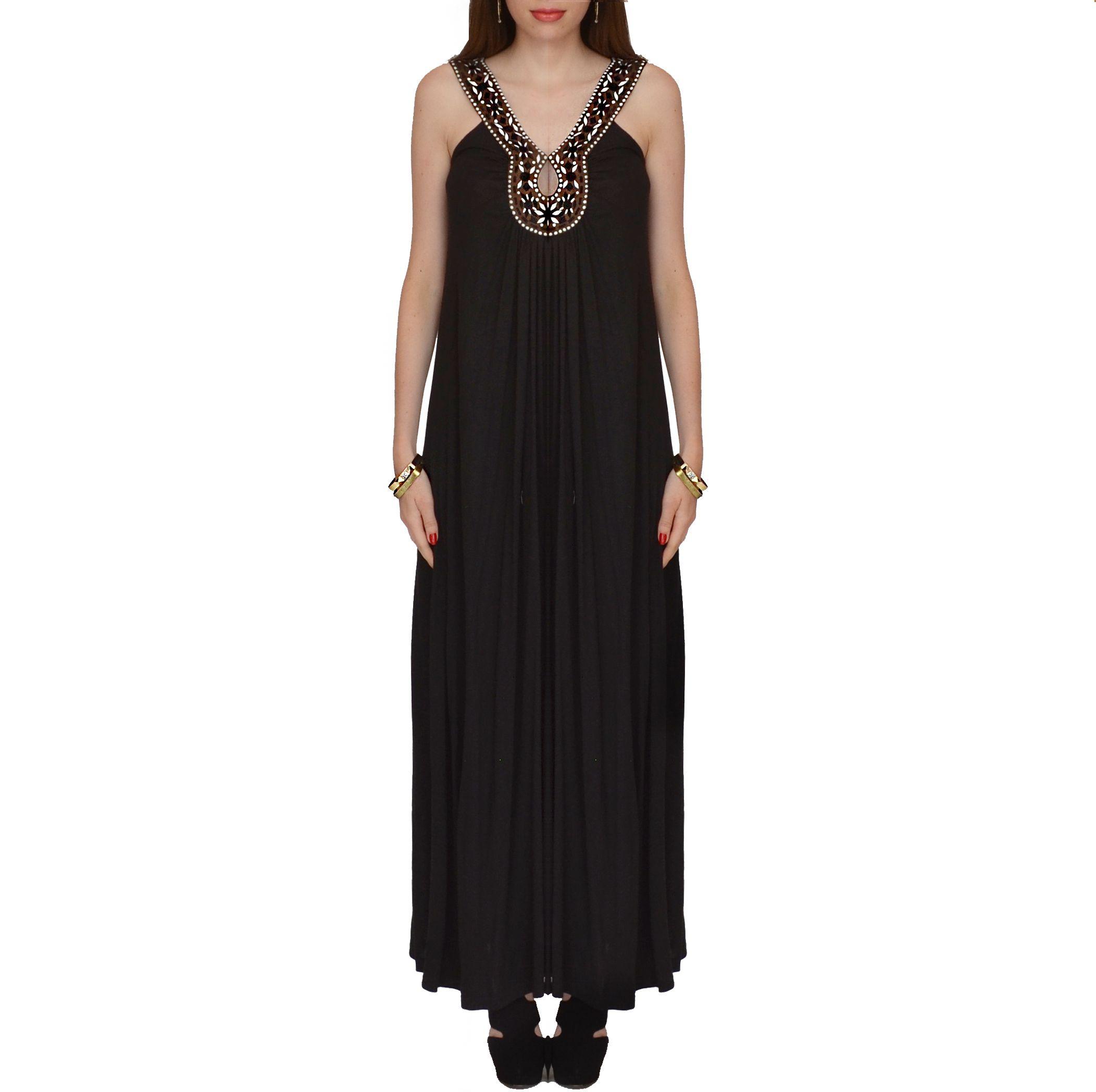Belinda sleeveless black dress brown embroidery neck details