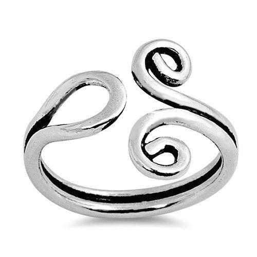 Silver Double Swirl Toe Ring Sterling Silver 925 Best Deal Adjustable Jewelry