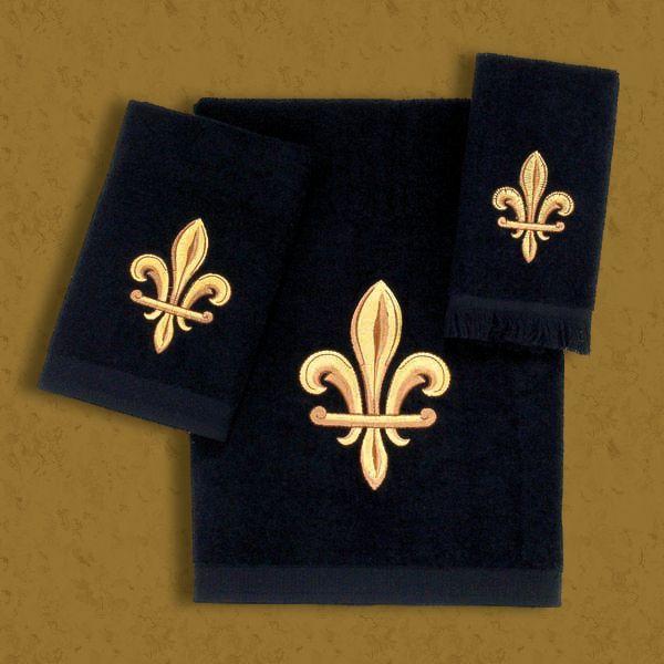 Saints Bathroom Set: Black And Gold Fleur De Lis Towel Collection (Sold