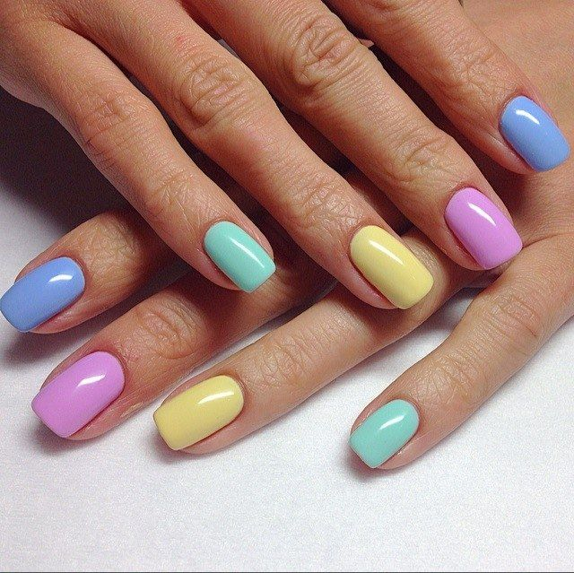 Yellow, red and blue, come to play with me! As if a rainbow of colored pastel shades lies on a beautiful nails! Juicy, but subtle shades of nail polish are