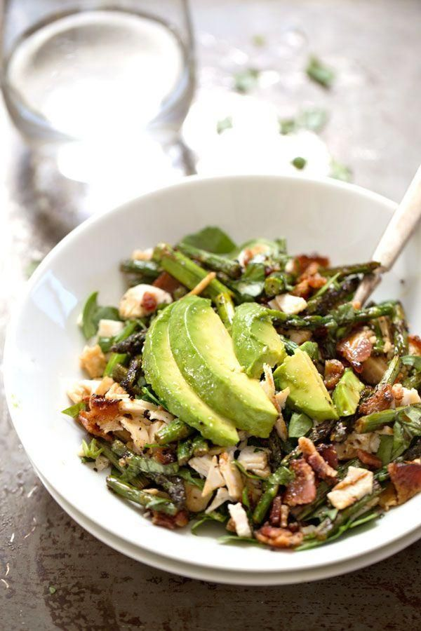 Chicken Bacon Avocado Salad with Roasted Asparagus via Pinch of Yum