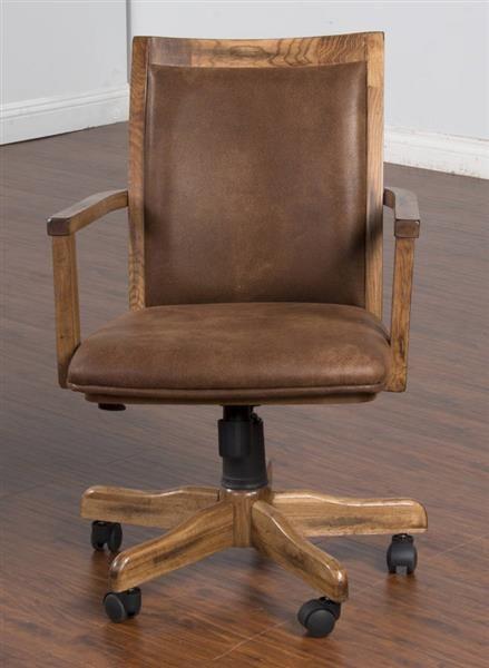 Sedona Rustic Oak Wood Adjustable Height Office Chair W Arm Mdf