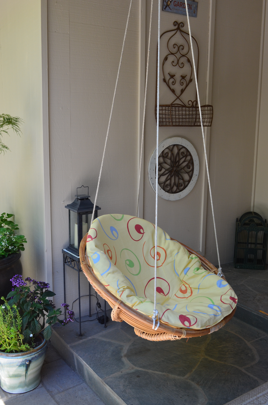 DIY swing/chair: Repurposed wicker chair turned into swing. I made this  swing from a $20.00 thrift store find. After removing the legs and  re-wrapping the ...