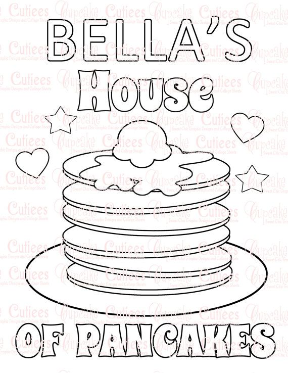 Pancake Party Custom Name Coloring Pages by